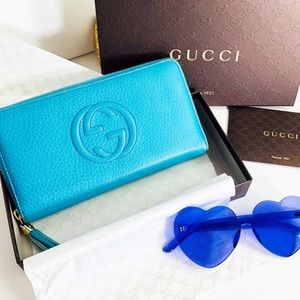 Gucci Authentic Soho Zip Wallet Turquoise W/ Box